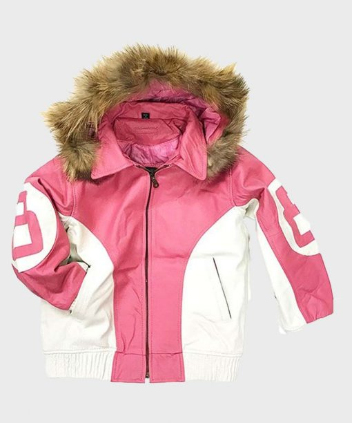 8 Ball Pink Hooded Leather Jacket