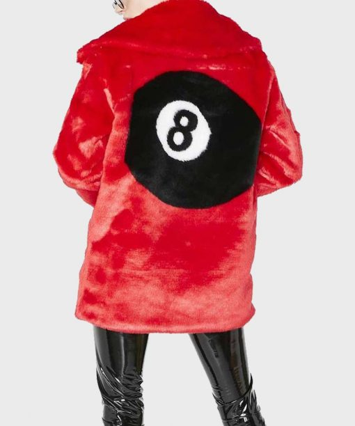 8 Ball Red Fur Jacket For Women's