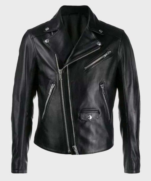 Double-Zip Black Biker Leather Jacket