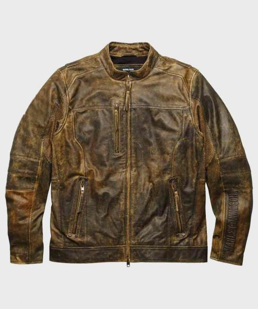 Mens Distressed Brown Biker Vintage Leather Jacket