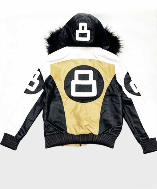 Khaki and White 8 Ball Fur Hooded Jacket