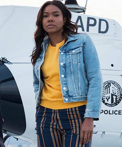 Gabrielle Union L.A.'s Finest Blue Denim Jacket