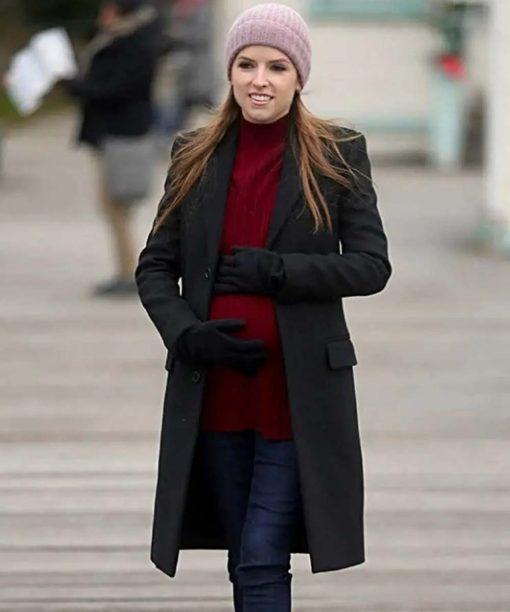 Love Life Anna Kendrick Black Wool Coat