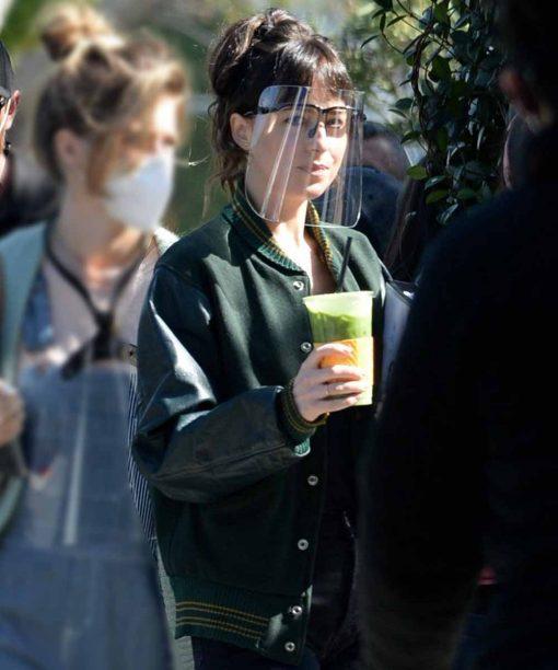 Am I OK Dakota Johnson Green Varsity Bomber Jacket