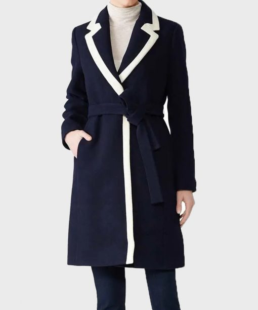 Meghan Markle Blue Wrap Coat