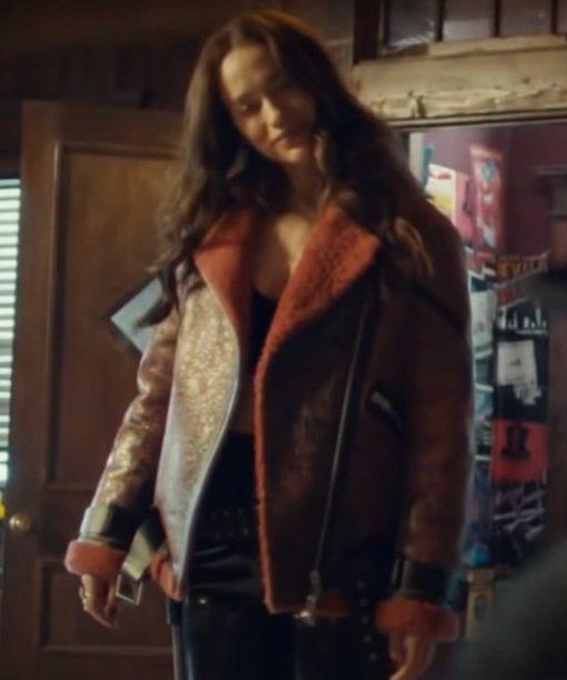 Wynonna Earp Melanie Scrofano Shearling Leather Jacket