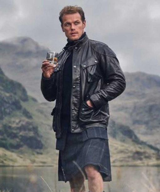 Sam Heughan Black Leather Jacket