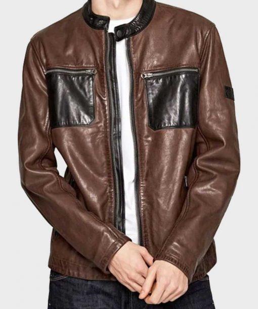 Mens Brown Cafe Racer Leather Jacket