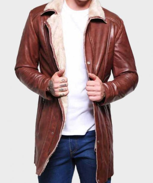 Men's Mid-Length Brown Shearling Leather Coat