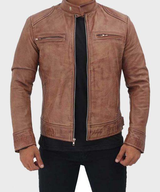 Men's Cafe Racer Tan Brown Distressed Leather Jacket