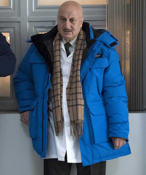 New Amsterdam Anupam Kher Blue Hooded Jacket