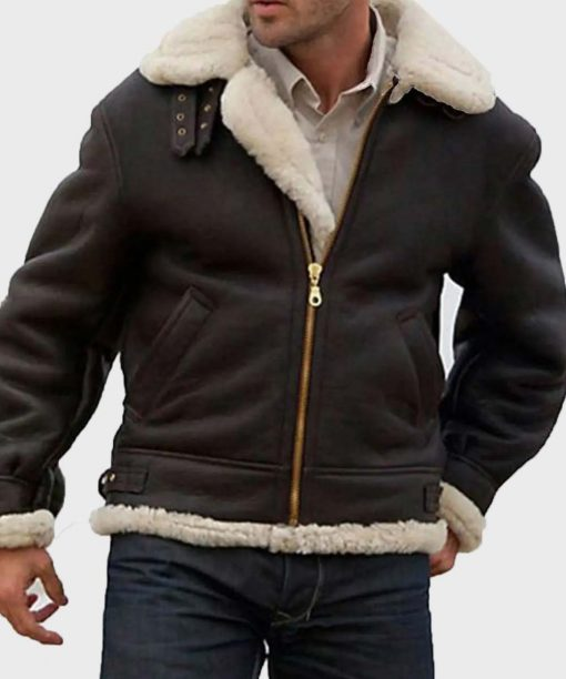 Sylvester Stallone Brown Aviator Shearling Jacket