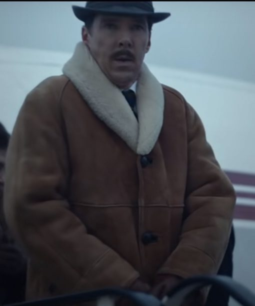 Benedict Cumberbatch The Courier Leather Coat with Shearling Collar