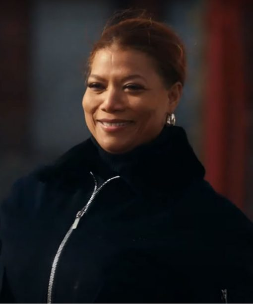 The Equalizer 2021 Queen Latifah Black Shearling Collar Jacket