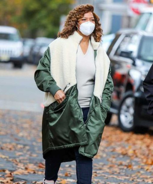 The Equalizer Queen Latifah Green and White Shearling Coat