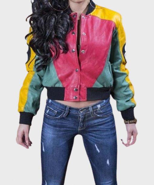 Women's 8 Ball Pool Stylish Leather Bomber Jacket