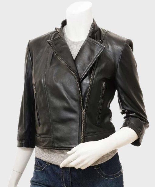 Womens Black Biker Cropped Leather Jacket