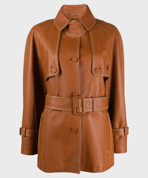 Women's Stylish Mid-Length Brown Belted Coat