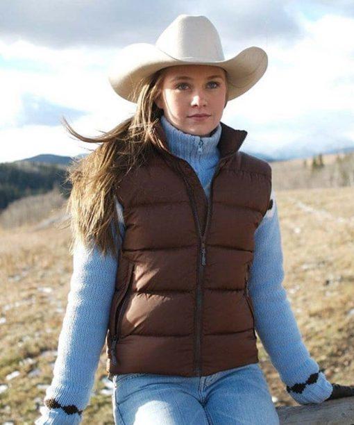 Heartland Amber Marshall Brown Puffer Vest