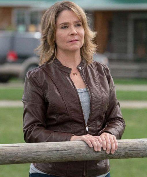 Megan Follows Heartland Brown Leather Jacket