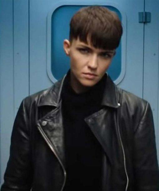 Ruby Rose SAS: Red Notice Black Leather Jacket