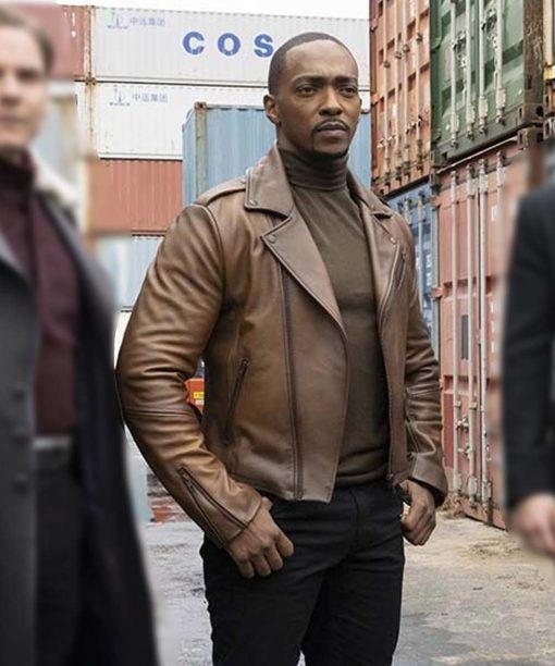 TFATWS Anthony Mackie Brown Leather Jacket