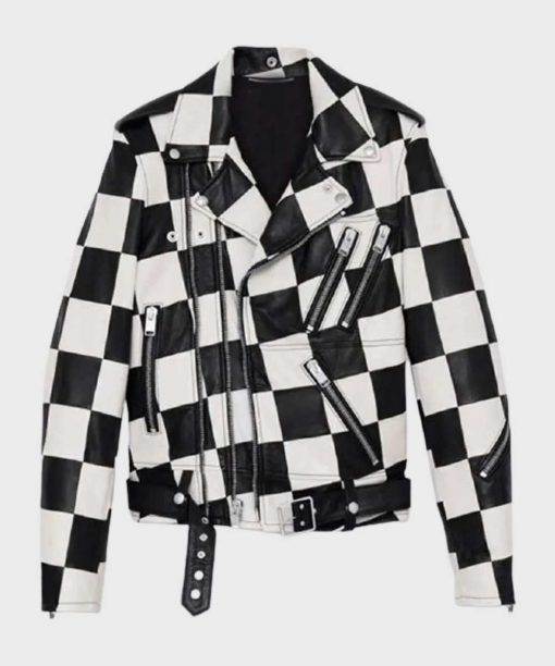 The Bold and the Beautiful Paris Diamond White Leather Jacket