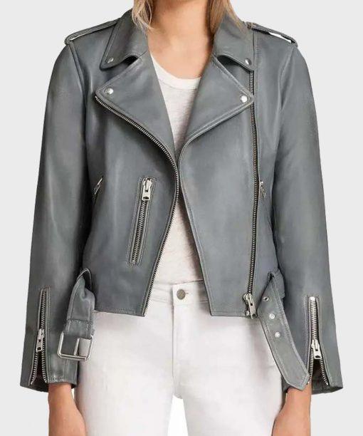 The Rookie S03 Mekia Cox Grey Leather Jacket