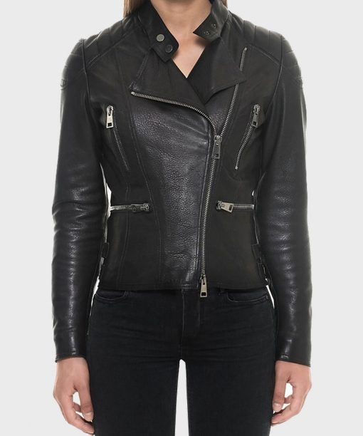 Womens Slimfit Motorcycle Leather Black Jacket