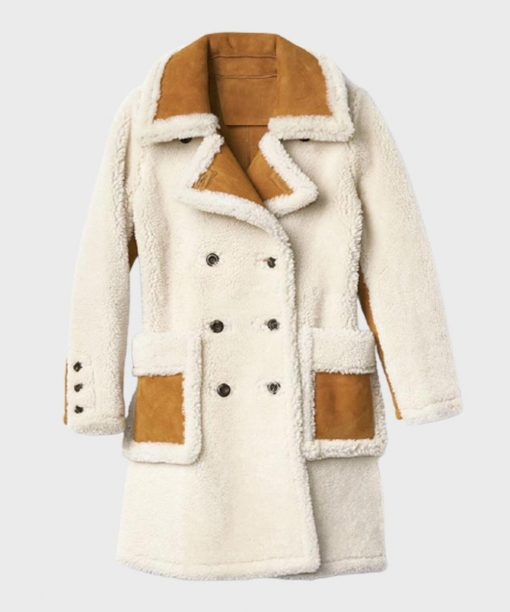 Womens Double-Breasted Shearling Coat