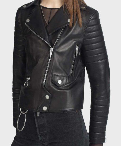 Womens Black Motorcycle Padded Sleeves Jacket