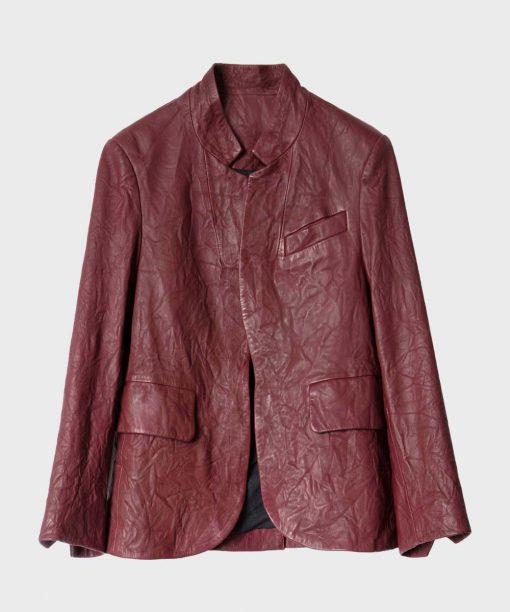 9-1-1 S04 Angela Bassett Burgundy Leather Jacket