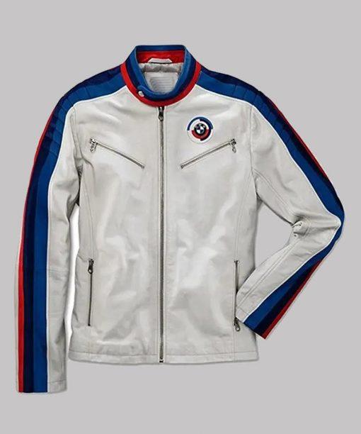 Mens BMW White Leather Jacket