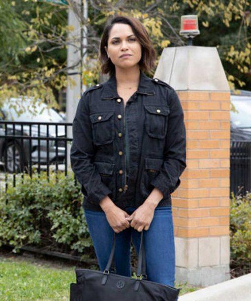 Monica Raymund Chicago Fire S08 Black Cotton Jacket