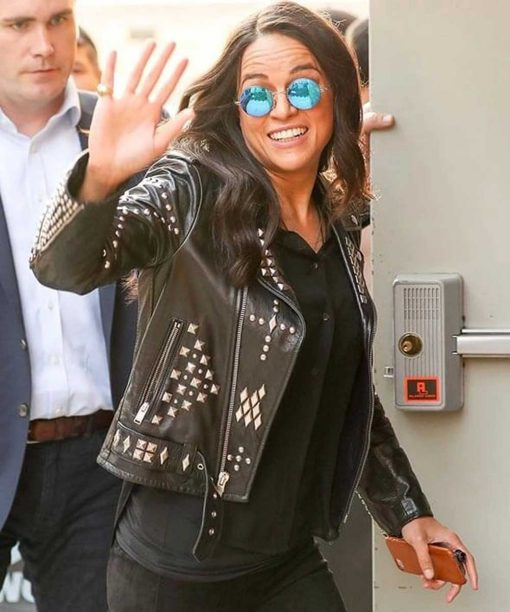 Fast and Furious 8 Letty Ortiz Black Studded Leather Jacket