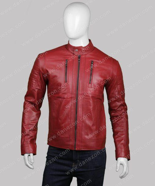 Mens Slimfit Red Biker Jacket