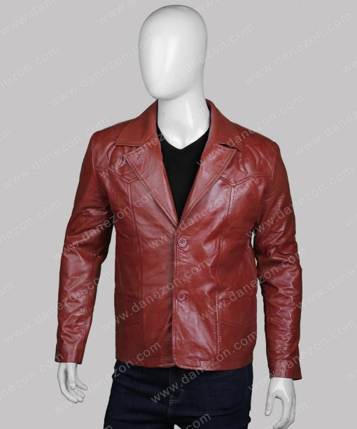 Men's Classic Two Button Brown Leather Blazer