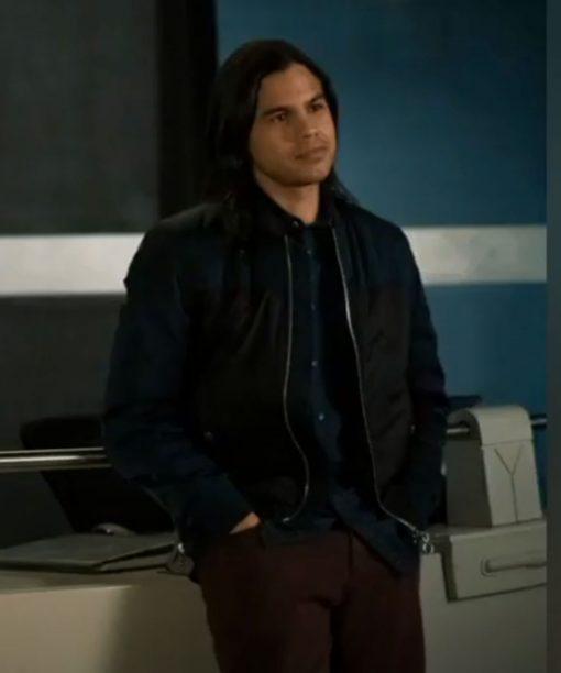 Carlos Valdes The Flash S07 Black Bomber Jacket