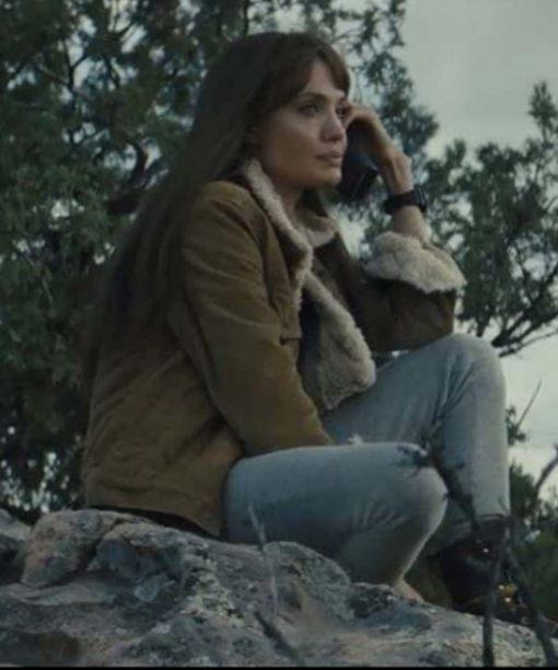 Those Who Wish Me Dead 2021 Angelina Jolie Shearling Jacket