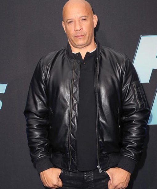 Vin Diesel Fast and Furious 9 Black Leather Bomber Jacket