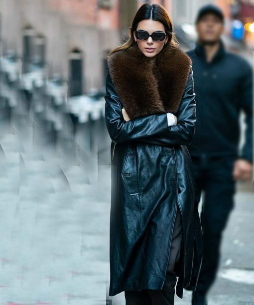 Kendall Jenner Black Leather Trench Fur Coat