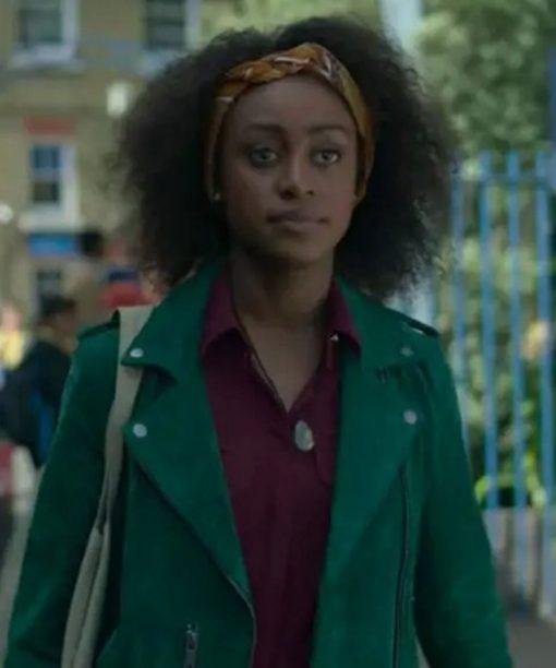 Behind Her Eyes Simona Brown Green Suede Jacket